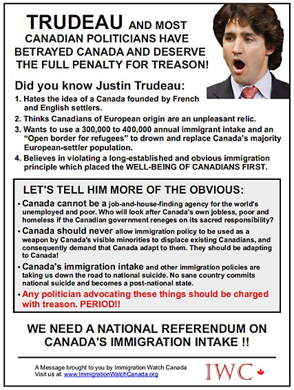 Justin Trudeau treason and betrayal -- we need a referendum on immigration into Canada