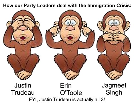Canada's party leaders are 3 monkeys who are clueless regards to Immigration