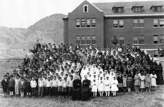 Kamloops Residential School Photo with Kids