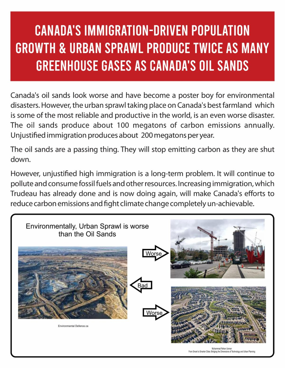 Canada's Immigration-Driven Population Growth causes twice as many GHG's as Our Oil Sands
